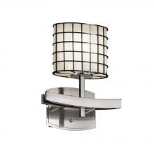 18-Inch by 5-Inch by 8.25-Inch Justice Design Group MSH-8911-50-NCKL Wire Mesh Capellini 1-Light Wall Sconce Brushed Nickel